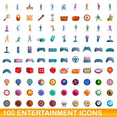 100 entertainment icons set, cartoon style 向量圖像