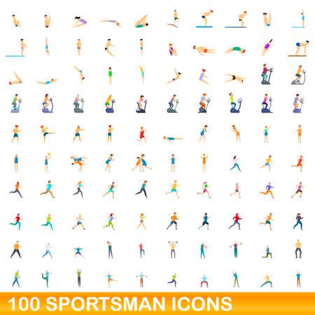 100 sportsman icons set, cartoon style