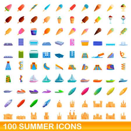 100 summer icons set, cartoon style