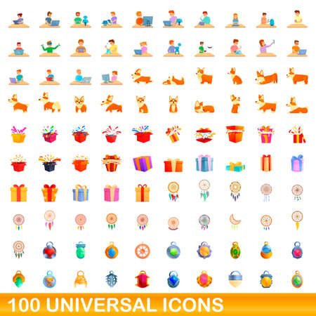 100 universal icons set, cartoon style 向量圖像