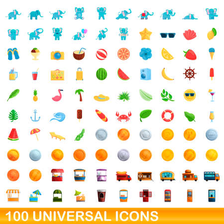 100 universal icons set, cartoon style Иллюстрация