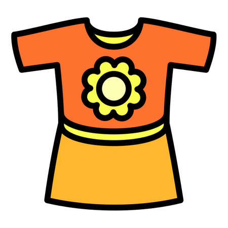 Baby girl dress icon, outline style 向量圖像