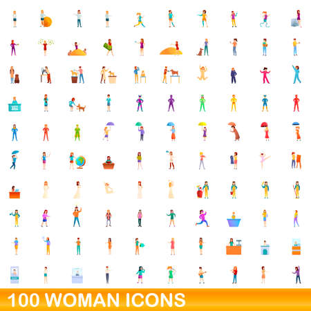 100 woman icons set, cartoon style