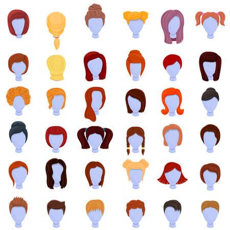 Wig icons set, cartoon style Ilustración de vector