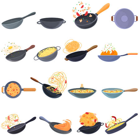 Wok frying pan icons set, cartoon style