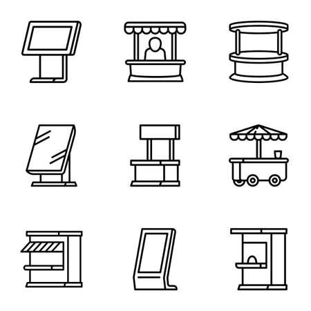 Street shop kiosk icon set, outline style Фото со стока