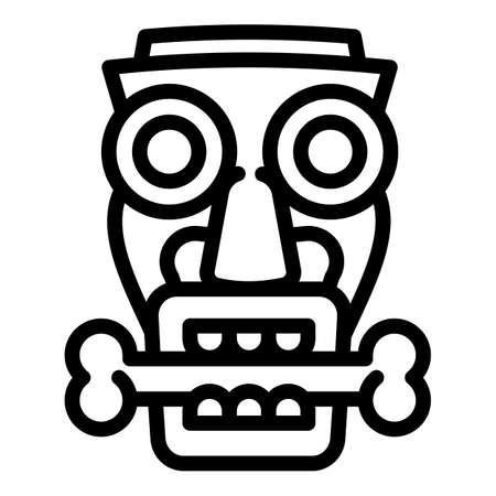 Idol with bone icon, outline style