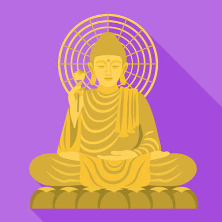 Vietnam Buddha statue icon, flat style