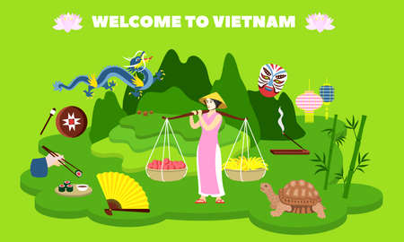 Welcome to Vietnam country concept banner, flat style