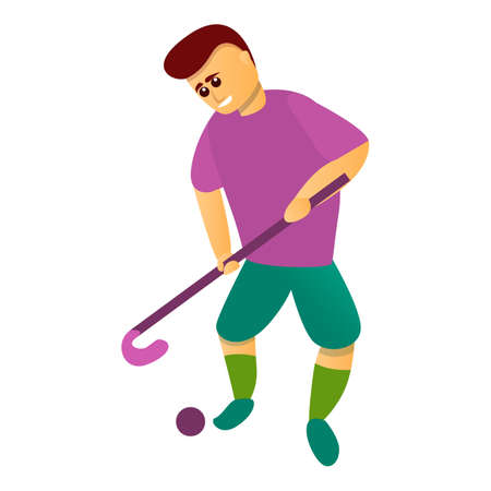 Start match field hockey icon, cartoon style