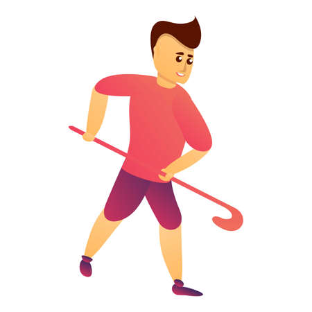 Field hockey young player icon, cartoon style