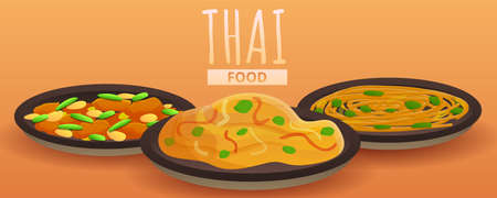 Thai food concept banner, cartoon style