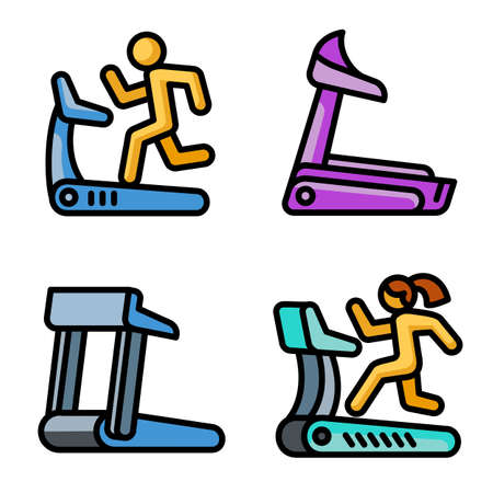 Treadmill icons set, outline style Stock fotó
