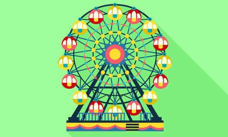 Ferris wheel icon, flat style
