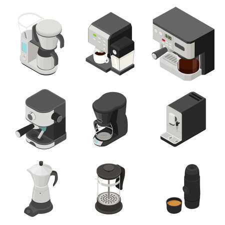 Coffee maker icons set, isometric style