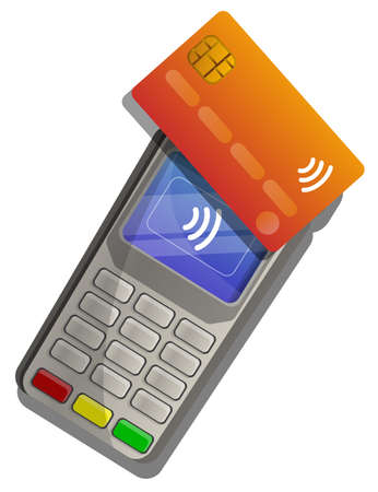 Nfc touch payment icon, cartoon style