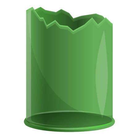 Broken glass bottle icon, cartoon style