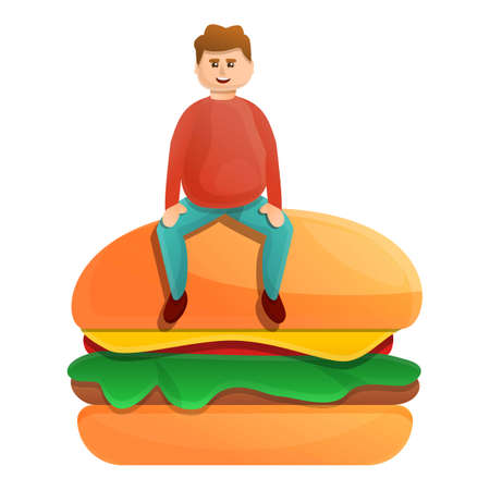 Fast food addiction icon, cartoon style Фото со стока