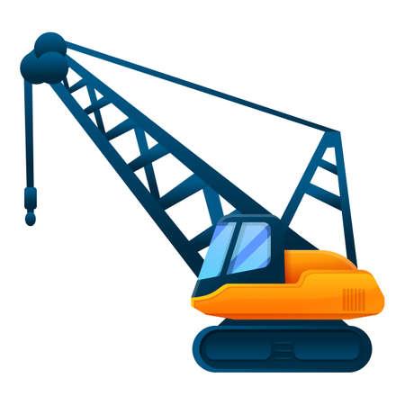 Excavator crane icon, cartoon style