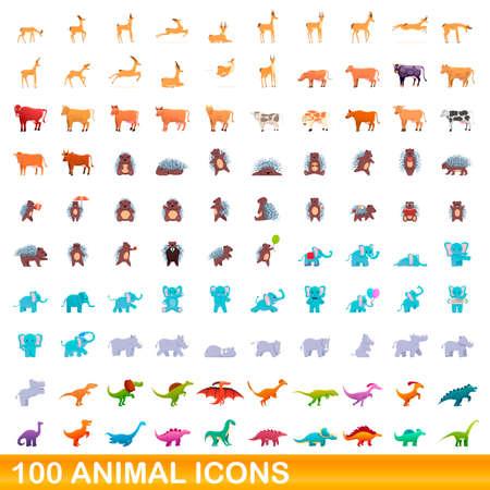 100 animal icons set, cartoon style