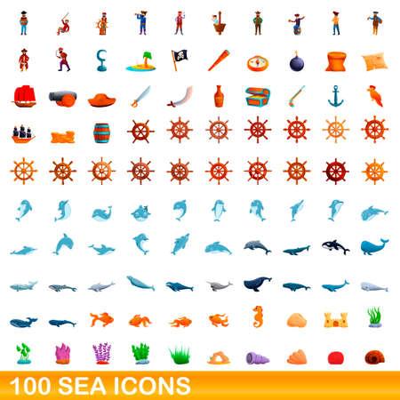100 sea icons set, cartoon style