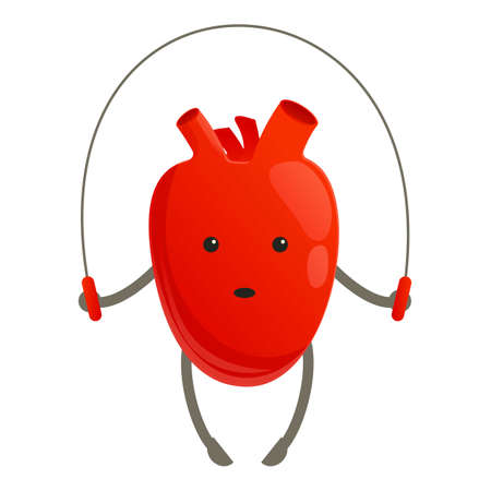 Healthy heart jumping rope icon, cartoon style