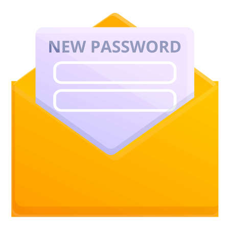 Mail password recovery icon, cartoon style Vector Illustration