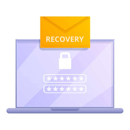 Laptop password recovery icon, cartoon style