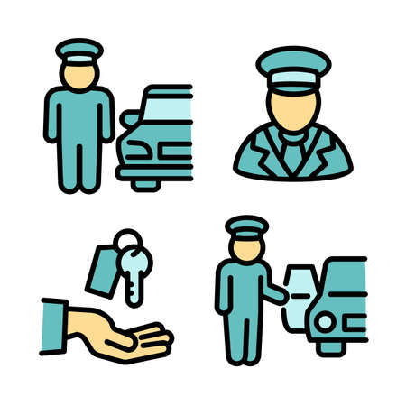 Valet icons set, outline style