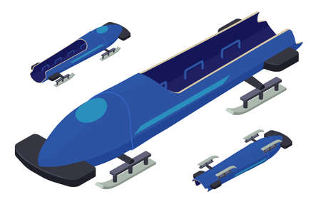 Bobsleigh icons set, isometric style
