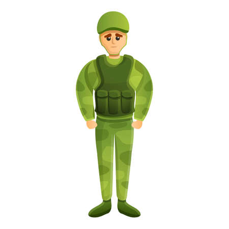 American soldier icon, cartoon style
