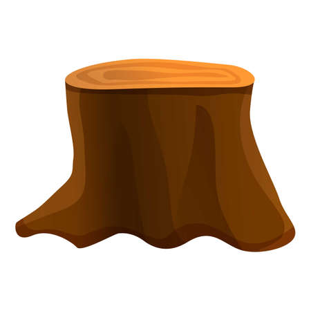 Big tree stump icon, cartoon style