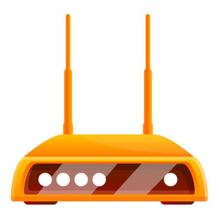 Wifi router icon, cartoon style