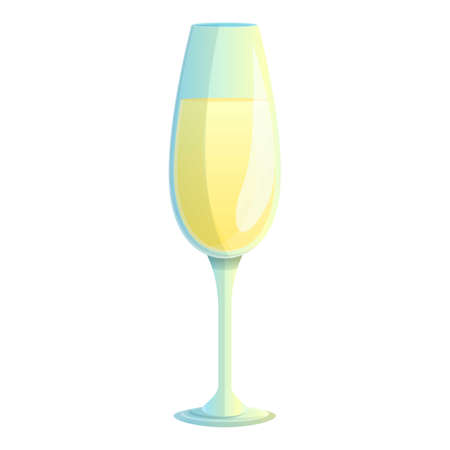 Champagne drink icon, cartoon style Фото со стока