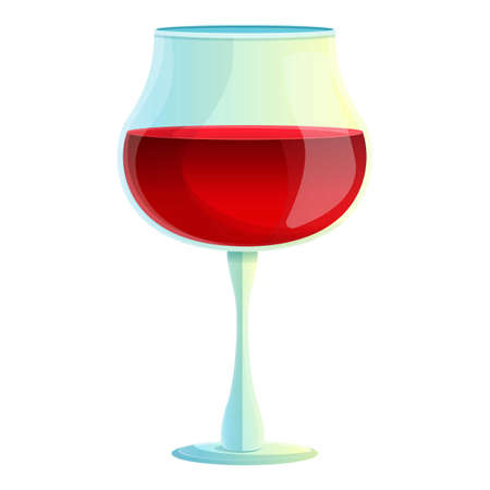 Wine glass icon, cartoon style
