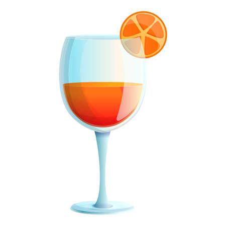 Orange fruit cocktail icon, cartoon style Фото со стока