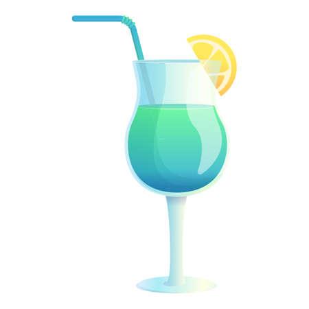 Lemon blue cocktail icon, cartoon style