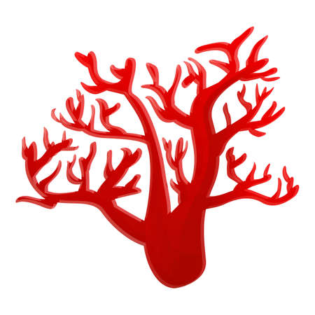 Red marine coral icon, cartoon style