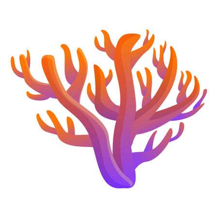 Gradient color coral icon, cartoon style