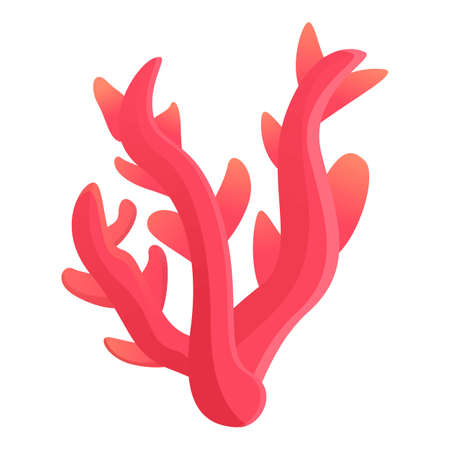 Red ocean coral icon, cartoon style