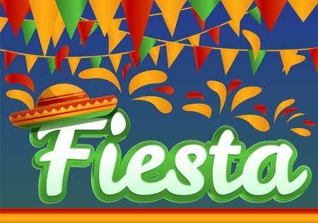 Fiesta concept banner, cartoon style