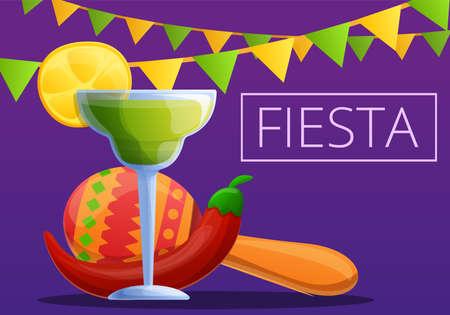 Night fiesta concept banner, cartoon style Фото со стока