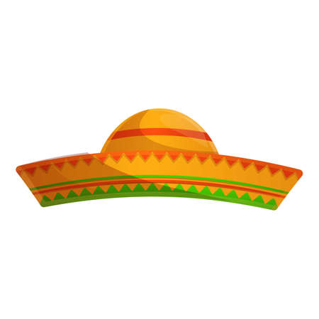 Mexican hat icon, cartoon style