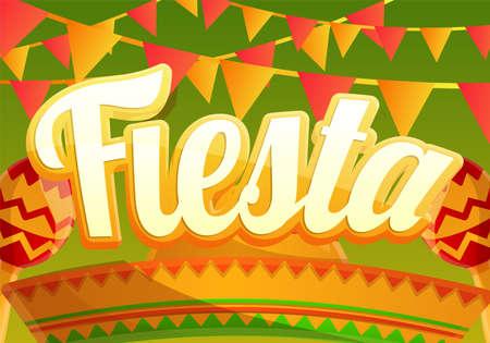 Fiesta party concept banner, cartoon style