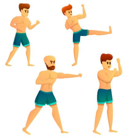 Mixed martial arts icons set, cartoon style