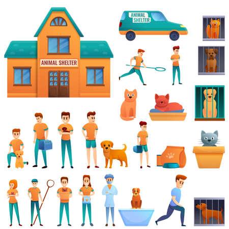 Homeless shelter icons set, cartoon style