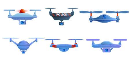 Police drone icons set, cartoon style Фото со стока