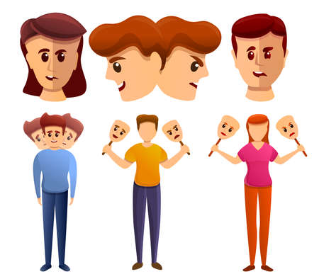 Bipolar disorder icons set, cartoon style