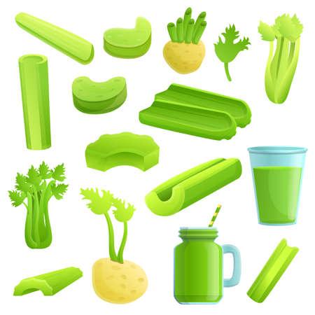 Celery icons set, cartoon style Фото со стока