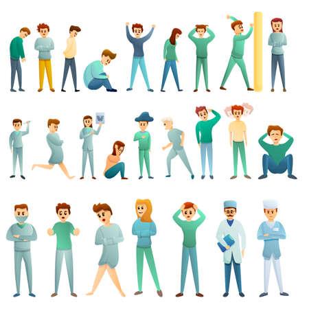 Mental hospital icons set, cartoon style